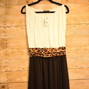 NWT Express B&W with Leopard Waist Dress